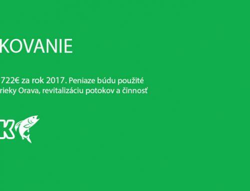 Poďakovanie za rok 2017. Vyzbieralo sa 722€.
